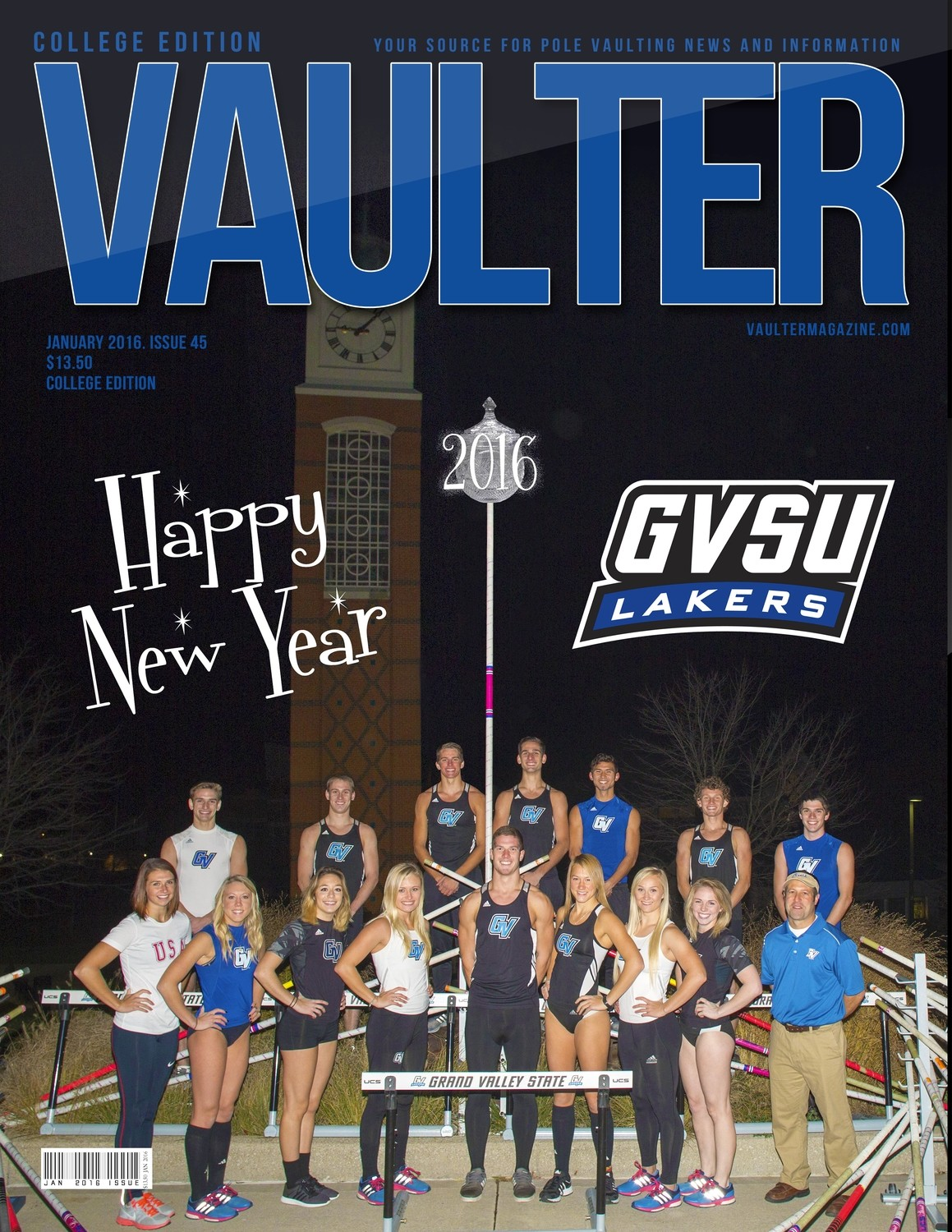 "January 2016 Grand Valley University Issue of VAULTER Magazine USPS First Class ""ONLY"""