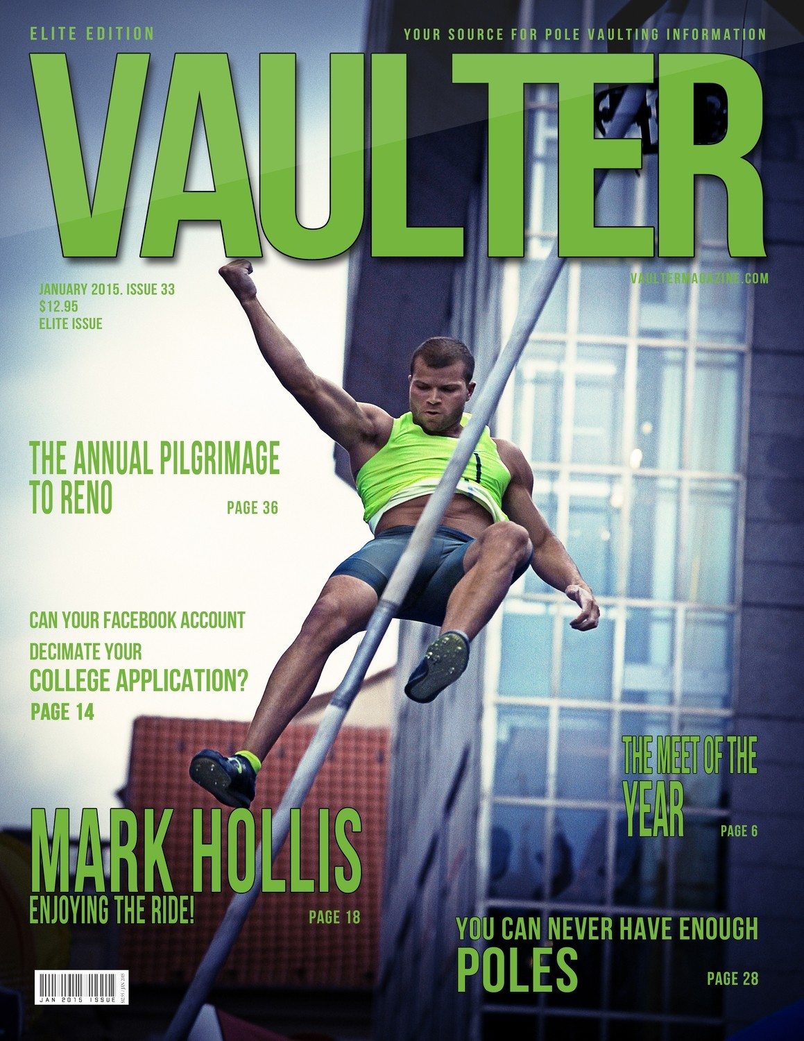 """January 2015 Mark Hollis Issue of VAULTER Magazine USPS First Class """"ONLY"""""""