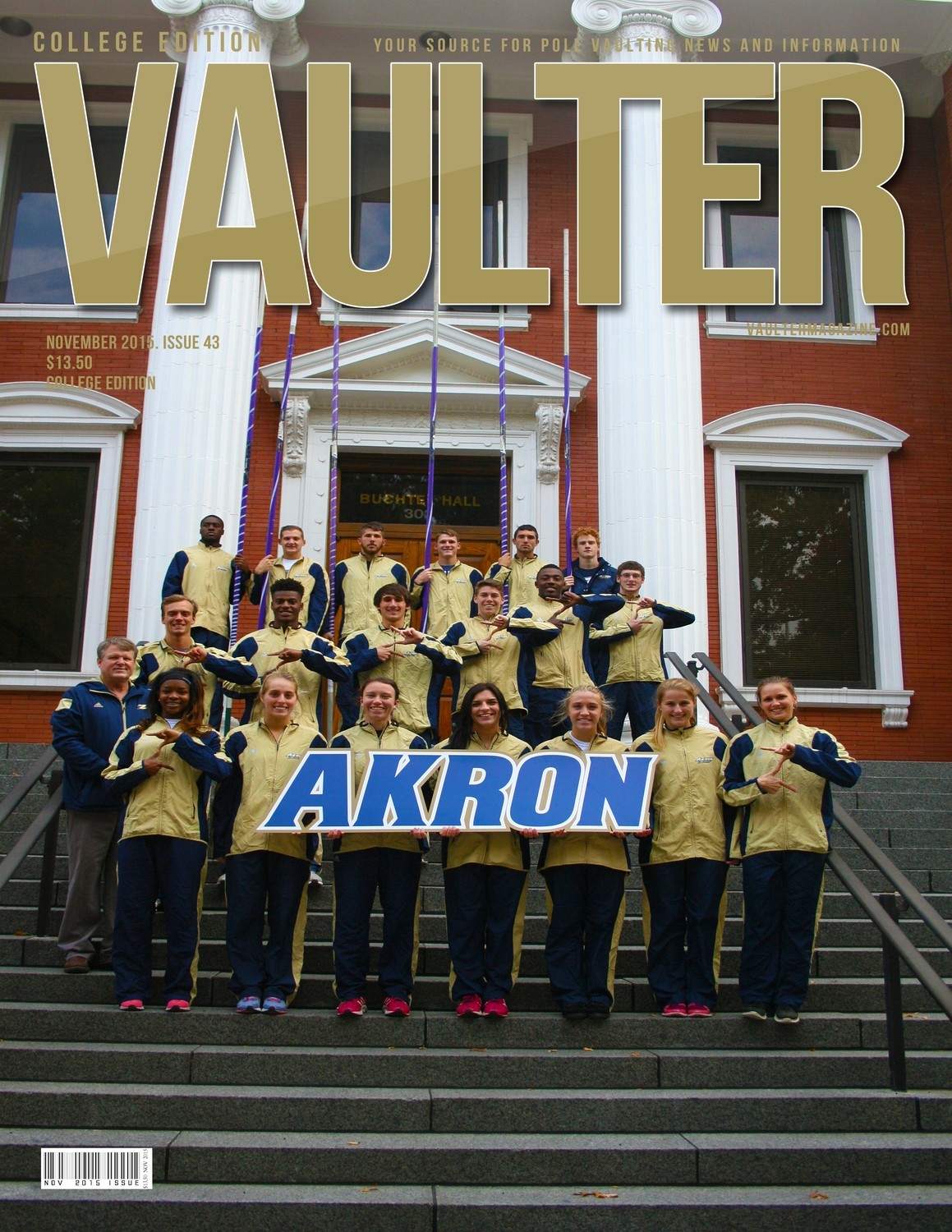 "November 2015 University of Akron Issue of VAULTER Magazine USPS First Class ""ONLY"""