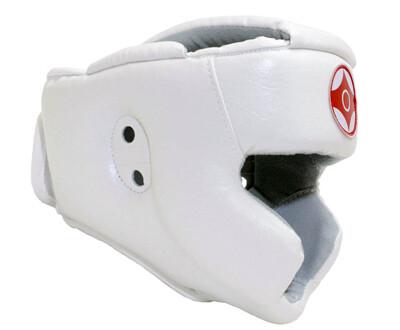Шлем для каратэ с закрытым подбородком и верхом головы (натуральная кожа)