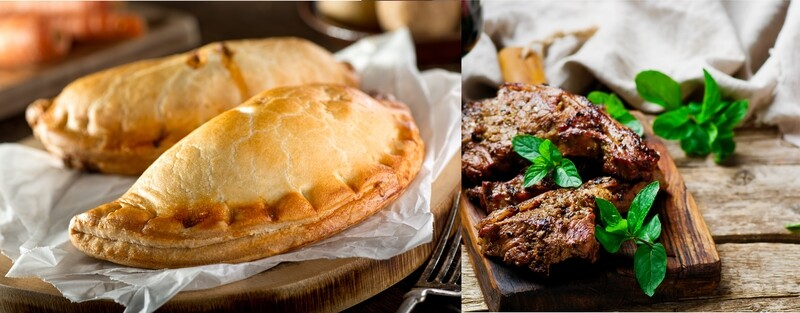 MINTED LAMB PASTY - Mint Lamb Pasty, slow braised high quality Irish lamb cooked for 2 1/2 hours until super tender mixed with garden peas & potato. Spoon on Mint Sauce and crimp the Pasty.