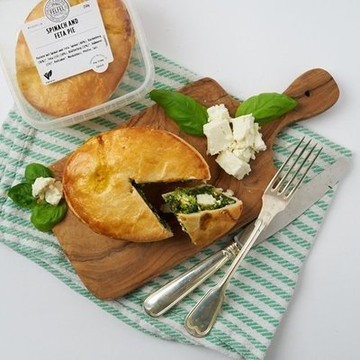SPINACH & FETA PIE (V) - Spinach and creamy Feta Cheese combined with Swiss Free Range Eggs, Cream and a gentle kiss of nutmeg running through the filling.