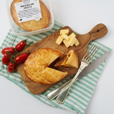 MINCE & CHEESE PIE - 100% Swiss Minced Beef, roasted with Onions, Garlic, Paprika, Tabasco, Worcestershire and Tomato Purée combined in a Beef stock and capped with imported English Cheddar Cheese.