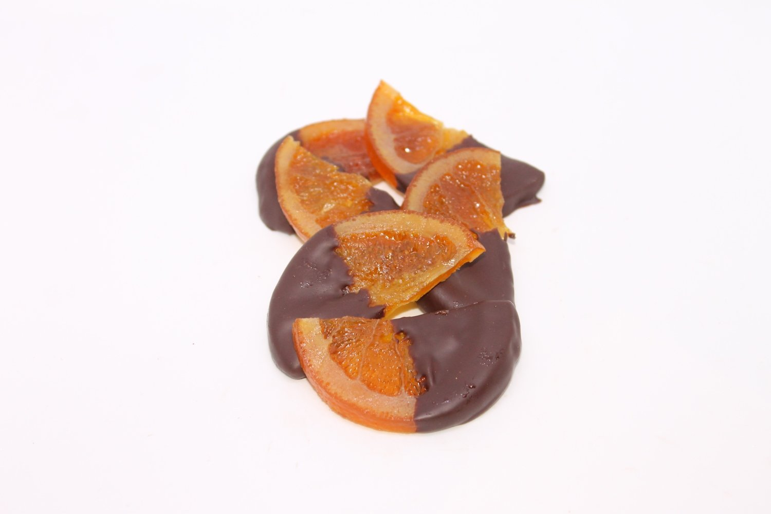 Hand dipped orange slices in dark chocolate - 10 pieces