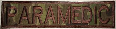 PARAMEDIC -  2x8in MULTICAM - Brown border/Brown Text