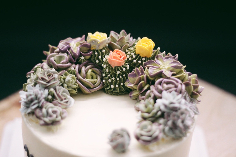 Crescent Succulents Buttercream Cake
