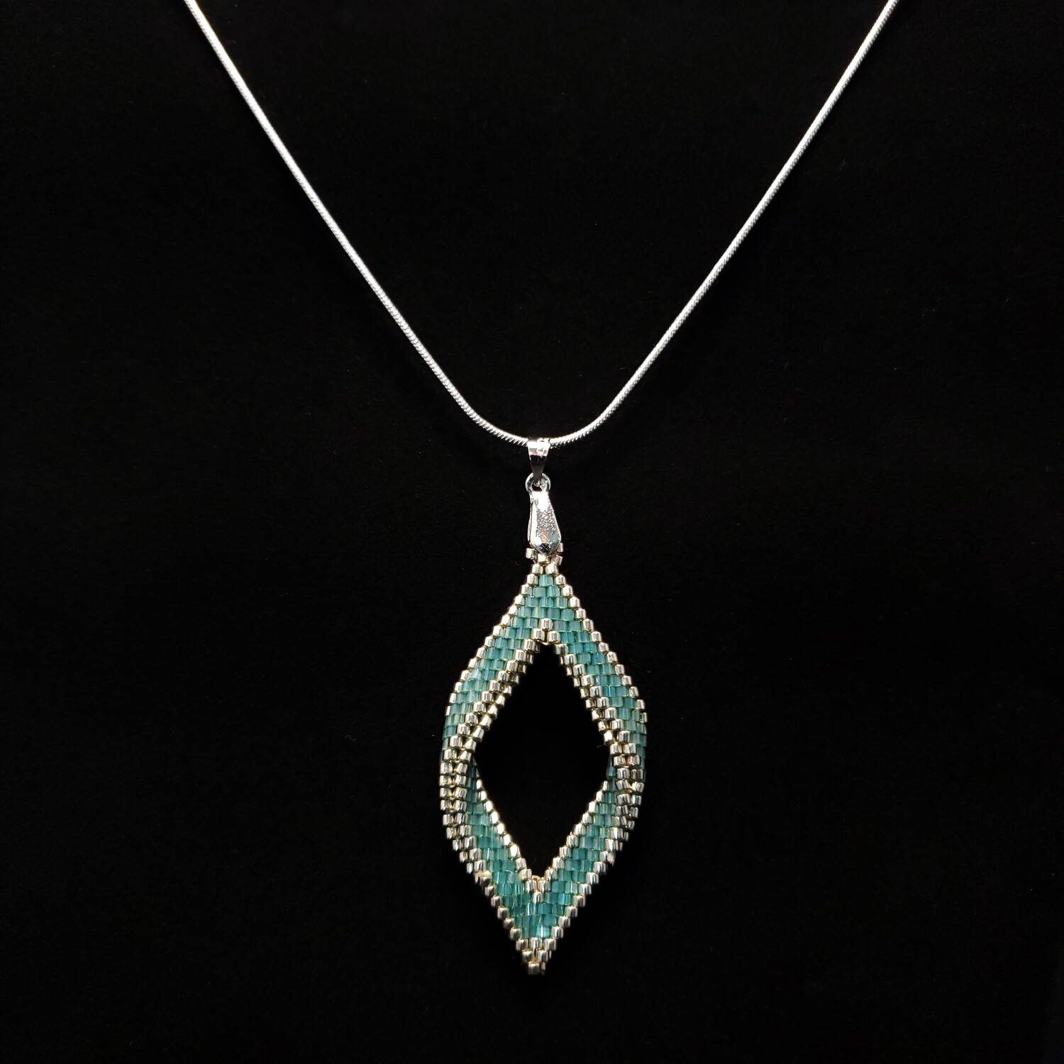 Beaded Open Diamond pendant with Sterling Silver chain