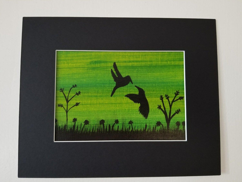 "Black Birds Painting 5""x 7"""