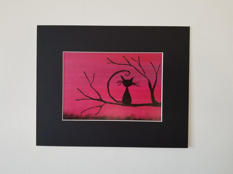 "Black Cat Painting 5""x 7 """