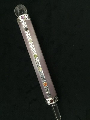 Rose Wand with Chakra Stones