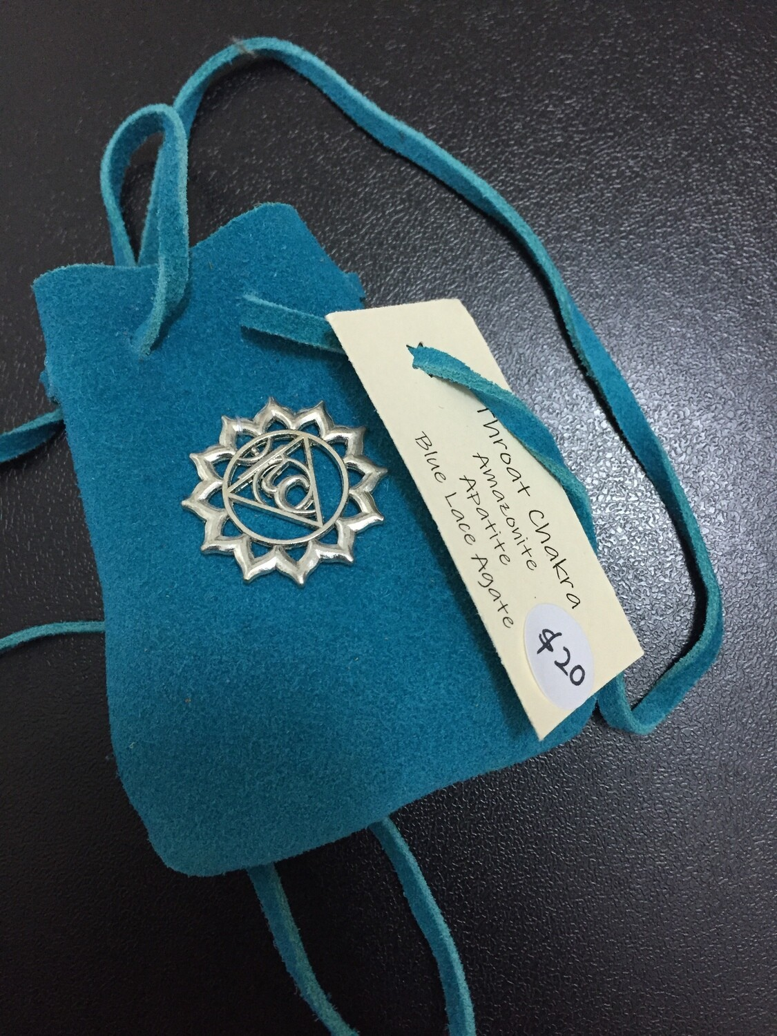 Throat Chakra Suede Bag with Crystals