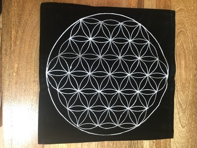Flower of Life Mat (Black Velvet)