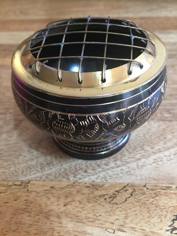 Black design Brass Incense Burner Round with Grill 7cm