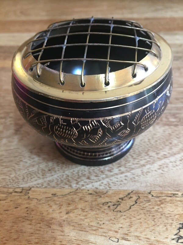 Black design Brass Incense Burner Round with Grill 7cm