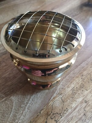 Indian Brass Incense Burner Round with Grill 10cm