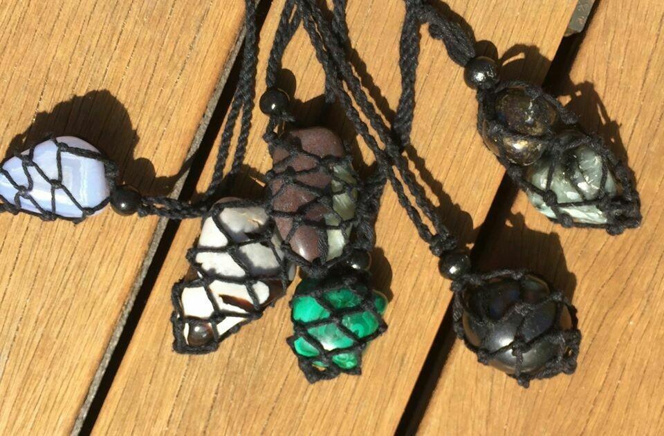 Opalised Wood Crystal Keeper Black