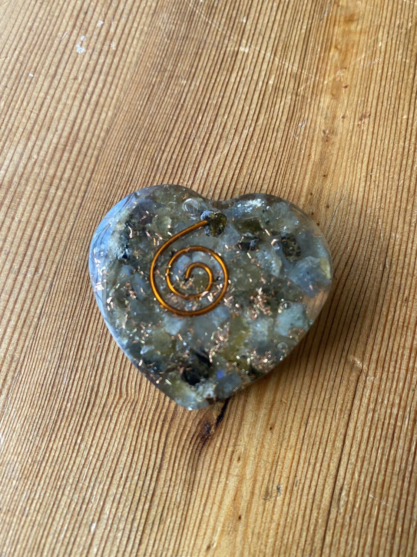 Labradorite Orgonite Heart Small