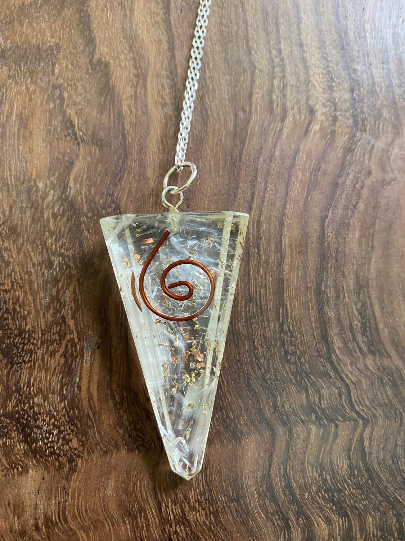 Selenite Quartz Orgonite Triangle Pendant
