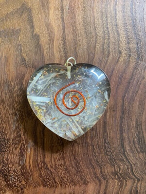 Selenite Quartz Orgonite Heart Pendant
