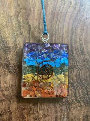 Chakra Orgonite Rectangle Pendant