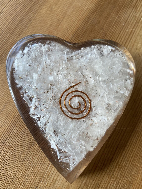 Selenite Orgonite Heart Large