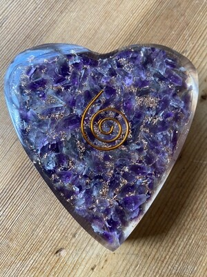Amethyst Orgonite Heart Large