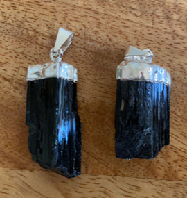 (Black) Tourmaline raw pendant