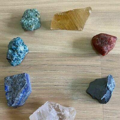 7 Raw Unpolished Chakra Crystal Sets