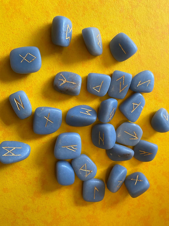 Angelite Polished Rune Set