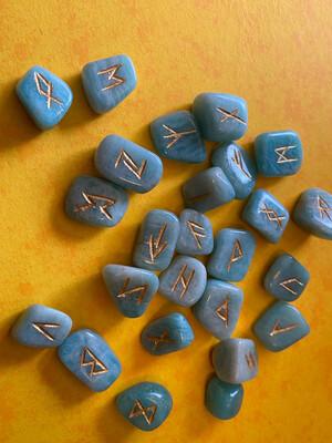 Amazonite Polished Runes Set