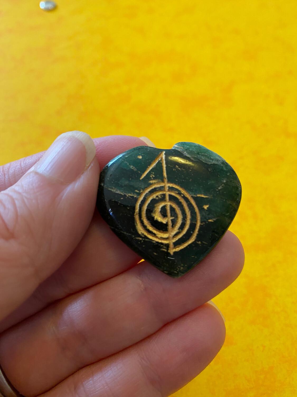 REIKI Cho Ku Rei symbol Heart Green Aventurine