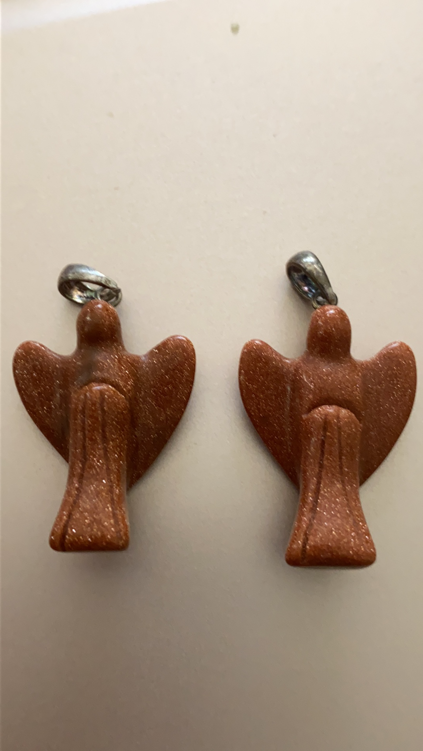 Goldstone Angel Pendant