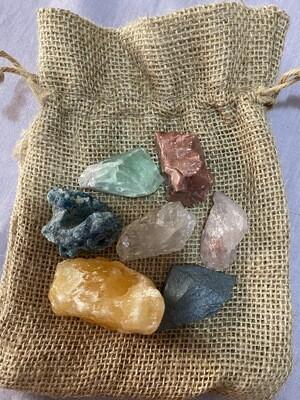 7 Raw Unpolished Chakra Crystal Set