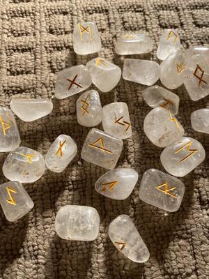 Clear Quartz Polished Runes Set