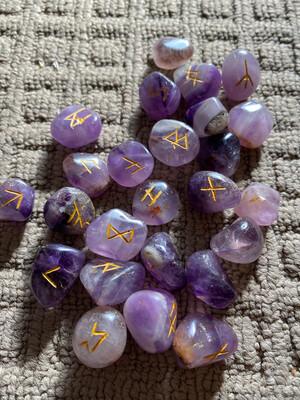 Amethyst Polished Runes Set