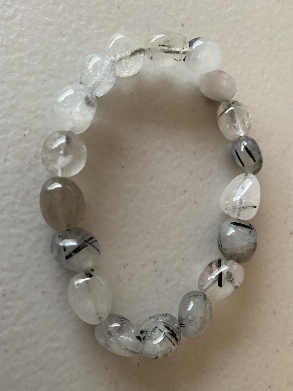 Tourmalinated Quartz  Tourmaline in Quartz bead bracelet