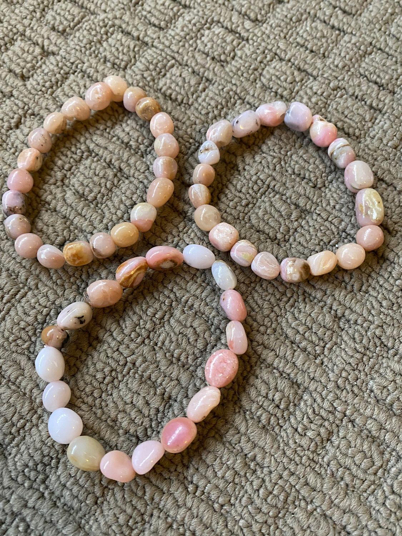 Pink Merlinite bead bracelet
