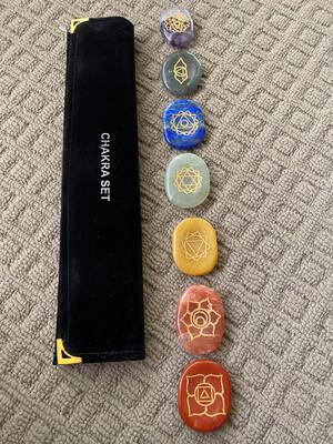"7 Engraved ""Thumbstone"" Chakra Crystal Set"