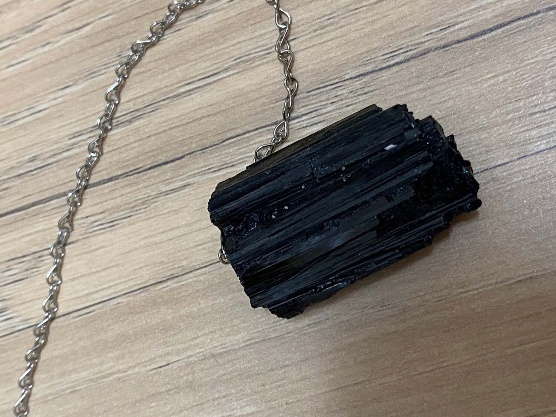 Black Tourmaline Raw Pendulum