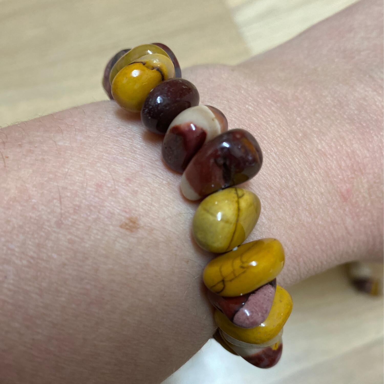 Polished Chip Bracelet: Mookaite Jasper bead bracelet