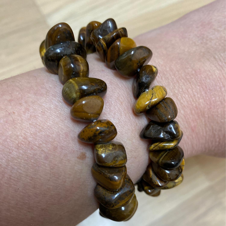 Polished Chip Bracelet: Tiger's Eye (Gold)