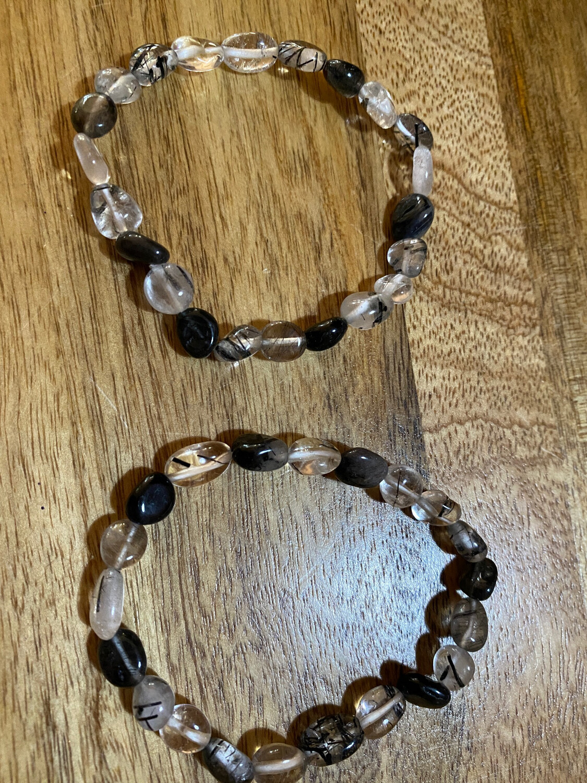 Tourmalinated Quartz Bead Bracelet
