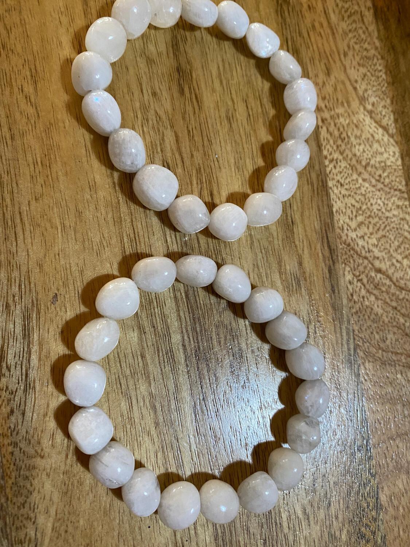 White Moonstone Bead Bracelet
