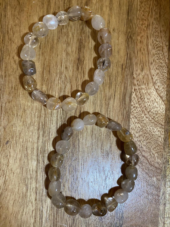 Rutilated Quartz (Angel Hair) Bead Bracelet