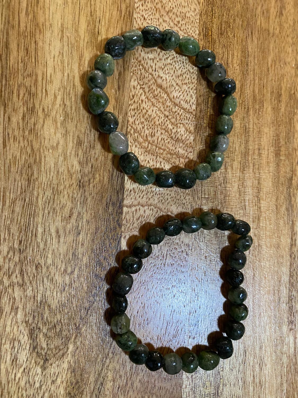 Green Tourmaline In Quartz Bead Bracelet