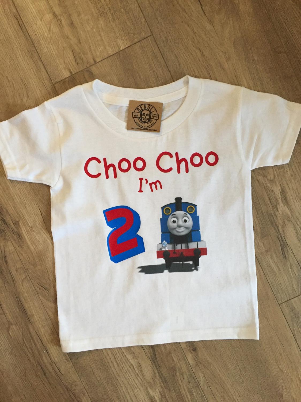 """Thomas the Train """"choo choo i'm 2"""" birthday tee"""