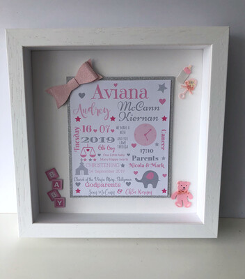 Baby Girl Birth & Christening Detail Frame