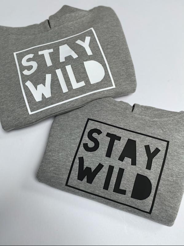 Stay Wild Grey Marl Kids Hoodie