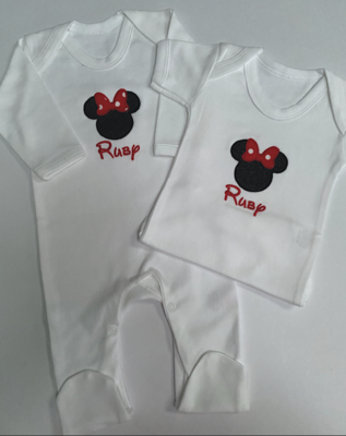 Minnie Mouse Inspired Embroidered Romper & Vest Set