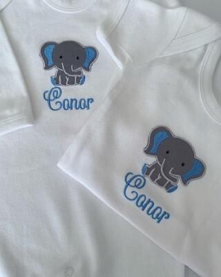 Little Elephant Embroidered Romper & Vest Set